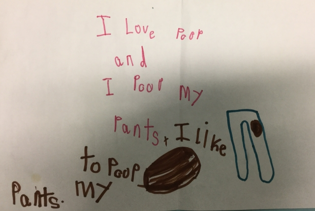 A picture of my daughter's writing.